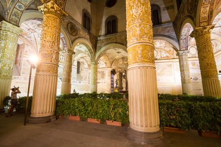 pilasters: Tourists walking in Palazzo della Signoria or Palazzo Vecchio, on September 2016 in Florence
