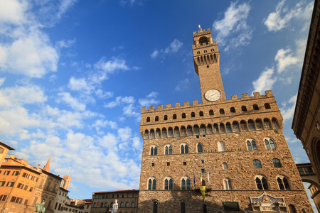 pilasters: Old Palace ( Palazzo Vecchio ) the town hall in the famous square  Piazza della Signoria  in Florence, Tuscany, Italy
