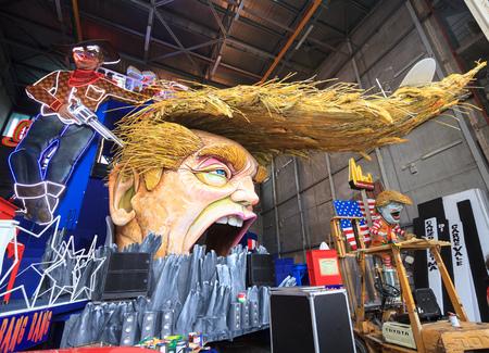 italian politics: Viareggio, February 2017:  Carnival allegoric cart with funny Donald Trump caricature, on February 2017 in Viareggio, Tuscany, Italy