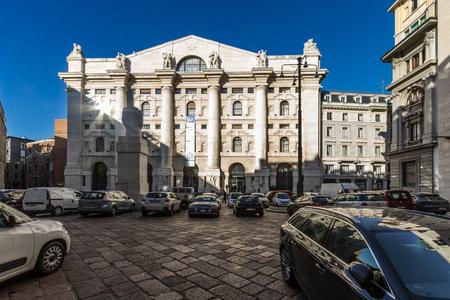 Milan, December 2017: Italian Stock Exchange (Borsa Italiana) also known as Piazza Affari ( Business Square ) , on December 2017 in Milan, Italy
