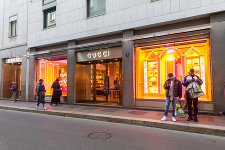 Milan, December 2017: Shop window of Gucci in Shopping Street  of the fashion and design capital of the world, on December 2017 in Milan, Italy