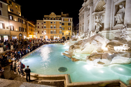 Rome, October 2017: Time lapse of Tourists visiting the Trevi Fountain (Fontana di Trevi) also famous for several films, including Federico Fellinis La Dolce Vita, on October 2017 in Rome, Italy