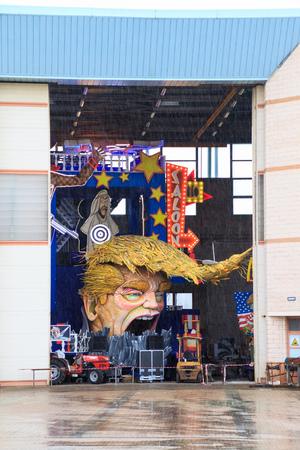 Viareggio, February 2017:  Carnival allegoric cart with funny Donald Trump caricature, on February 2017 in Viareggio, Tuscany, Italy