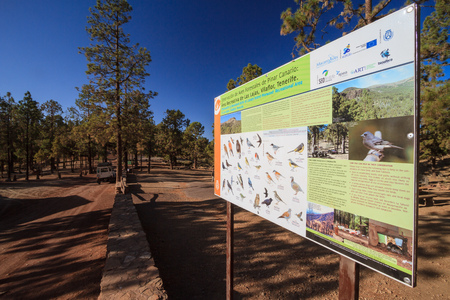 Tenerife, October 2016: Signs in national park of Tenerife on October 2016 in Tenerife,  Canary Islands, Spain