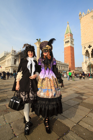 Venice, February 2017:  Costumed people during the famous venetian Carnival , on February 2017 in Venice, Italy Stock fotó - 109867206