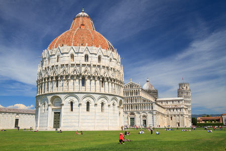 Pisa, May 2017: Baptistery of St. John (Battistero di San Giovanni) in Square of Miracles (Piazza dei Miracoli ) , on May 2017 in Pisa, Tuscany, Italy Sajtókép