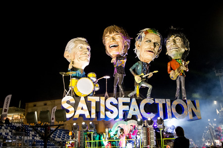 Viareggio, January 2018: Rolling Stones caricature in carnival parade of floats and masks, made of paper-pulp, on January 2018 in Viareggio, Tuscany, Italy