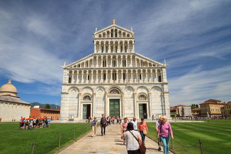 Pisa, May 2017: Square of Miracles with Cathedral (duomo di Santa Maria Assunta), on May 2017 in Pisa, Tuscany, Italy