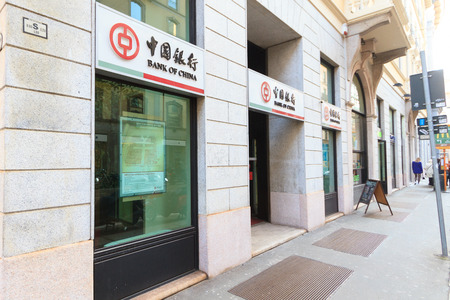 Milan, March 2018: Windows and signs of Bank of China, in fashion and design capital of the world, on March 2018 in Milan, Italy Sajtókép