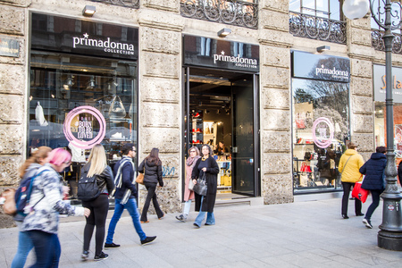 Milan, March 2018: Shop window of Primadonna collection in Shopping Street of fashion and design capital of the world, on March 2018 in Milan, Italy, Europe