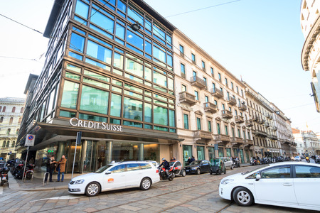 Milan, March 2018: Windows and signs of Credit Suisse, in fashion and design capital of the world, on March 2018 in Milan, Italy