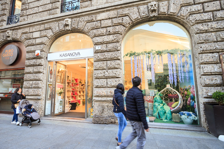 Milan, March 2018: Shop window of  Kasanova  in Shopping Street of fashion and design capital of the world, on March 2018 in Milan, Italy, Europe Sajtókép