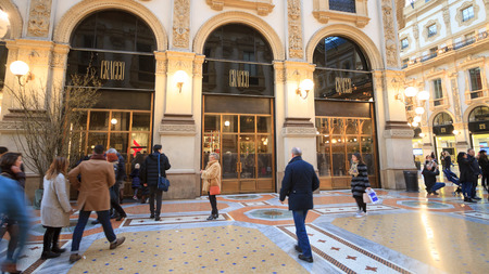 Milan, March 2018: Luxury restaurant opened by the famous Italian chef Carlo Cracco in shopping mall Vittorio Emanuele II Gallery, on March 2018 in Milan, Italy Sajtókép