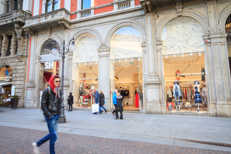 Milan, March 2018: Shop window of Silvian Heach  in Shopping Street of fashion and design capital of the world, on March 2018 in Milan, Italy, Europe