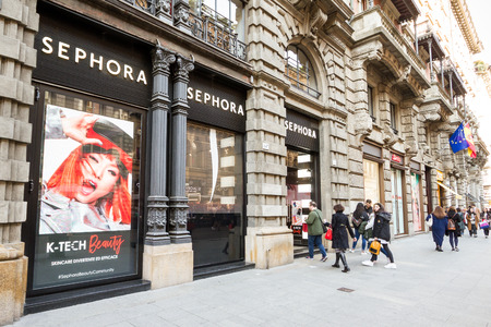 Milan, March 2018: Shop window of Sephora  in Shopping Street of fashion and design capital of the world, on March 2018 in Milan, Italy, Europe