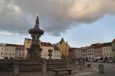 Old city in Czechia with fountain Editorial