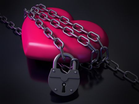reciprocity: Heart in chains Stock Photo