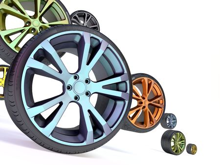 tire tread: Image of automobile wheels
