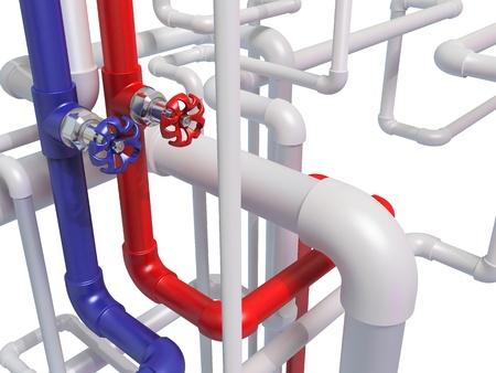 kunststoff rohr: Rohr mit hei�em und kaltem Wasser