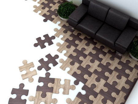 floor in the interior is designed as Puzzles photo