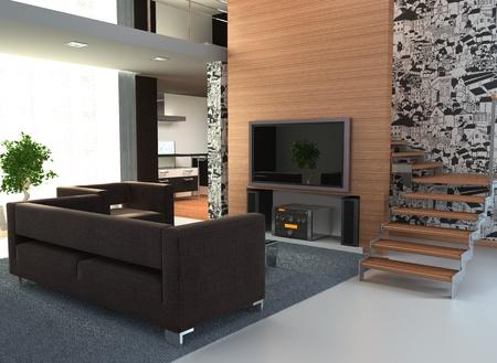 case moderne: Immagine di un interno con una TV di grandi dimensioni Archivio Fotografico