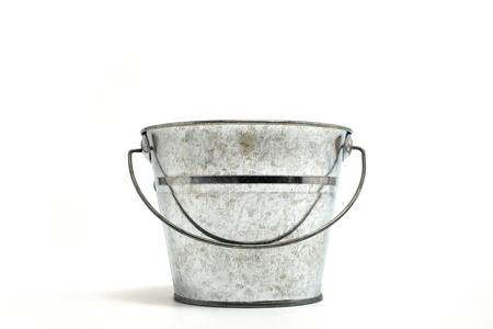 steel bucket: old bucket Stock Photo