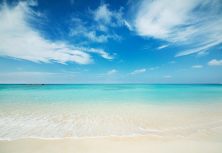 Japanese clean white beach in Okinawa prefecture photo