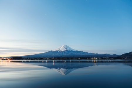 mt: an inverted image of Mt  Fuji Stock Photo