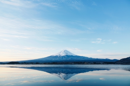 an inverted image of Mt  Fuji photo