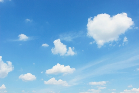 Clear sky with heart shape cloud photo