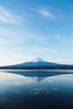 an inverted image of Mt  Fuji Stock Photo