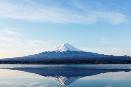 japan sky: an inverted image of Mt  Fuji Stock Photo