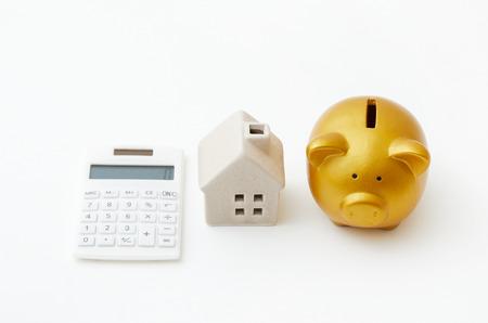 reckon: piggy bank saving for house Stock Photo