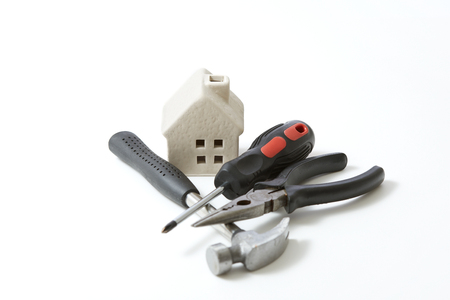 residential construction: the house repair Stock Photo