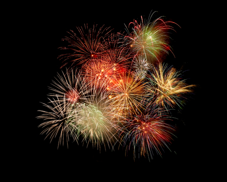 pyrotechnics: The fireworks in the night sky Stock Photo