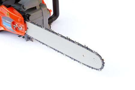 the chainsaw on the white background