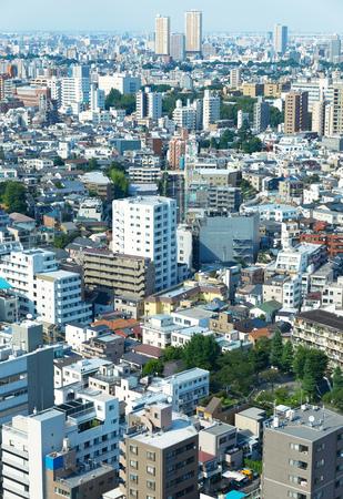 Aerial view landscape of Tokyo city, Japan.