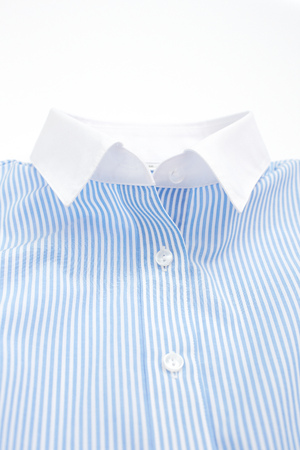 Close up of the business shirt isolated on a white background.
