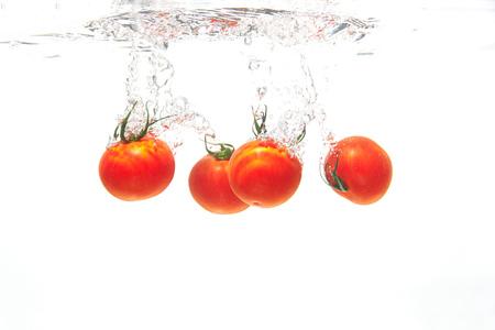 cherry tomato under the water