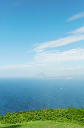 landscape of Satsuma peninsula with Mt. Kaimondake from Sata Cape in Japan