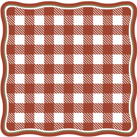 Tablecloth and tartan pattern with red white stripes and squares