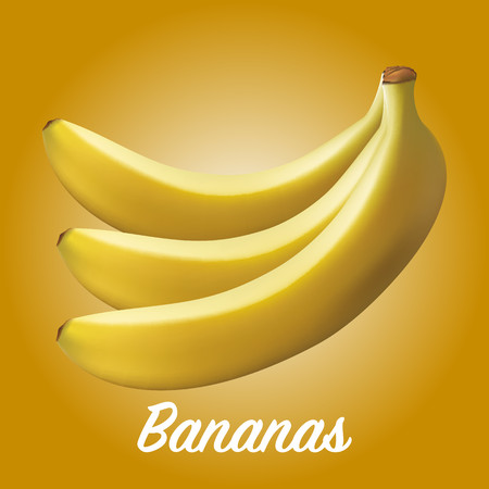 Three fresh realistic bananas on a yellow background Stock Photo