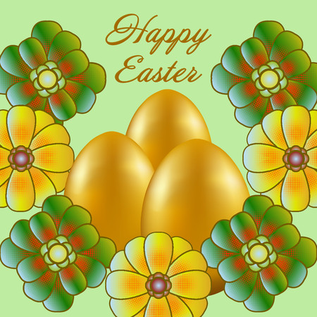 Happy Easter isolated on a light green background. Golden Eggs and Flowers. Paper Cutting. Illustration for greeting card, poster, flier, blog, article.