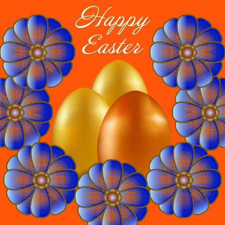Happy Easter isolated on orange background. Golden and Orange Eggs and Flowers. Paper Cutting. Illustration for greeting card, poster, flier, blog, article. Stock Photo