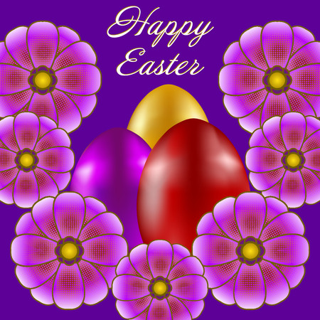 Happy Easter isolated on violet background. Colored Eggs and Flowers. Paper Cutting. Illustration for greeting card, poster, flier, blog, article.