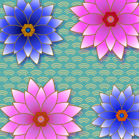 Paper flowers stock photo picture and royalty free image image beautiful floral trendy background with pink and blue flower cutting paper japanese style cut paper mightylinksfo