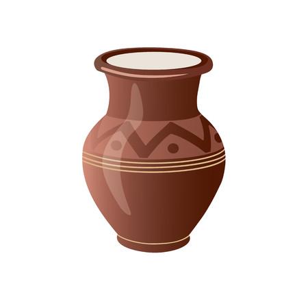 Realistic Clay Pot. Ceramic Jug. Beautiful Pottery. Ethnic Crockery. Farm product. Vector illustration.