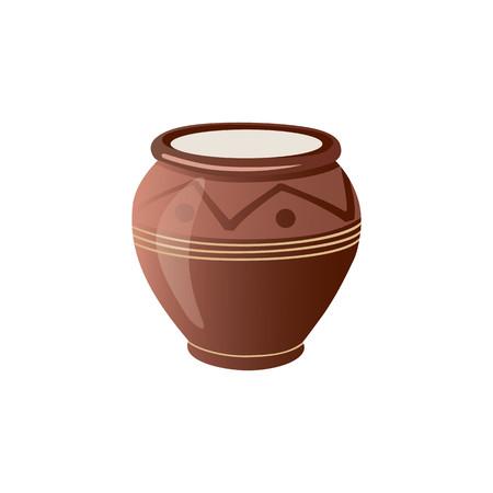 Realistic Clay Pot. Ceramic Jug. Beautiful Pottery. Ethnic Crockery. Farm product. Vector illustration. Foto de archivo - 97213054