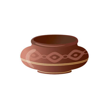 Realistic Clay Pot. Ceramic Jug. Beautiful Pottery. Ethnic Crockery. Farm product. Vector illustration. Foto de archivo - 97428181