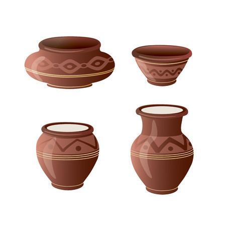 Realistic Clay Pot Set. Ceramic Jug. Beautiful Pottery. Ethnic Crockery. Farm product. Vector illustration. Vettoriali